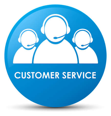Customer service (team icon) isolated on cyan blue round button abstract illustration