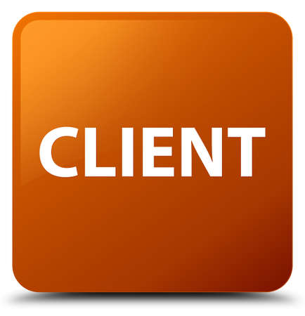Client isolated on brown square button abstract illustration