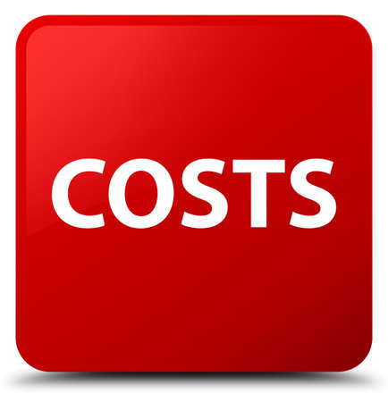 Costs isolated on red square button abstract illustration Stock Photo