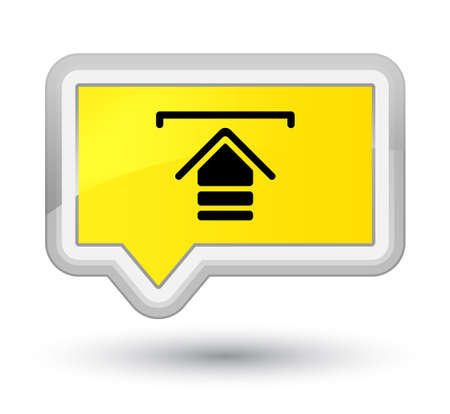 Upload icon isolated on prime yellow banner button abstract illustration Standard-Bild