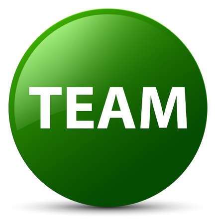troupe: Team isolated on green round button abstract illustration Stock Photo