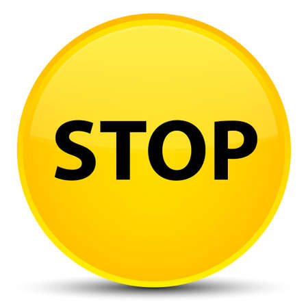 Stop isolated on special yellow round button abstract illustration