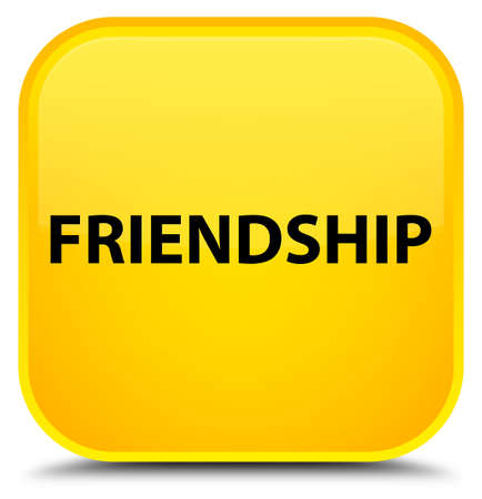 Friendship isolated on special yellow square button abstract illustration