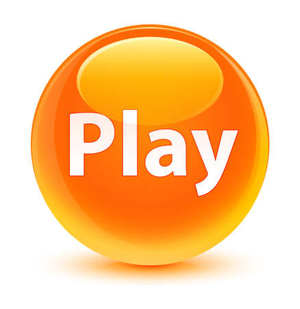 Play isolated on glassy orange round button abstract illustration Stock Photo