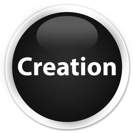 Creation isolated on premium black round button abstract illustration Stok Fotoğraf