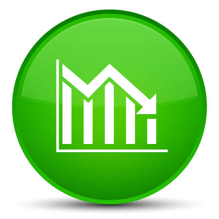 Statistics down icon isolated on special green round button abstract illustration