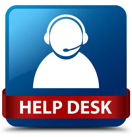 Help desk (customer care icon) isolated on blue square button with red ribbon in middle abstract illustration Imagens
