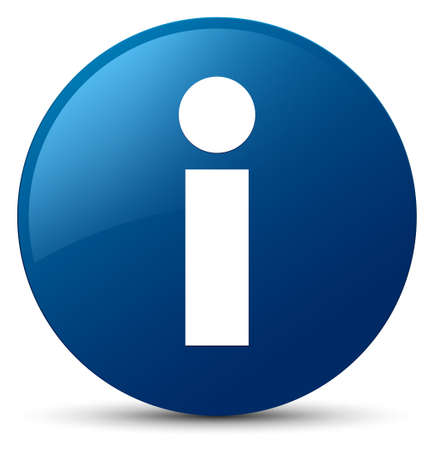 Info icon isolated on blue round button abstract illustration