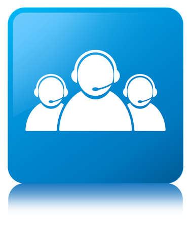 Customer care team icon isolated on cyan blue square button reflected abstract illustration