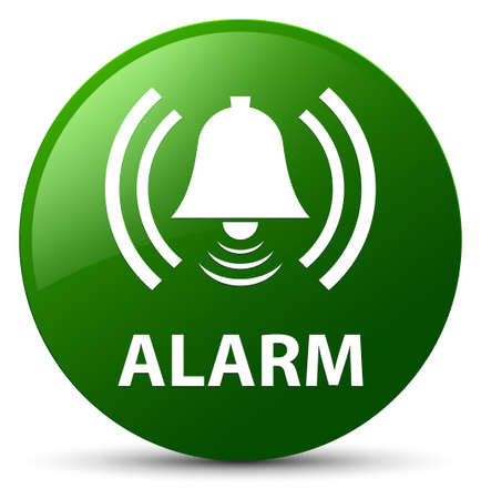 Alarm (bell icon) isolated on green round button abstract illustration