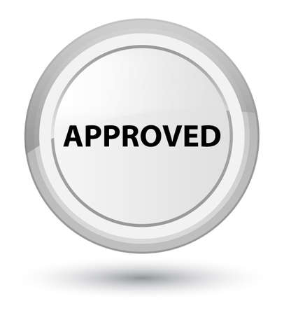 Approved isolated on prime white round button abstract illustration