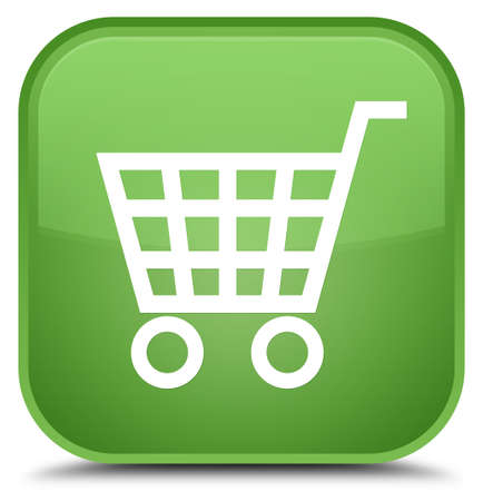 E-commerce icon isolated on special soft green square button abstract illustration