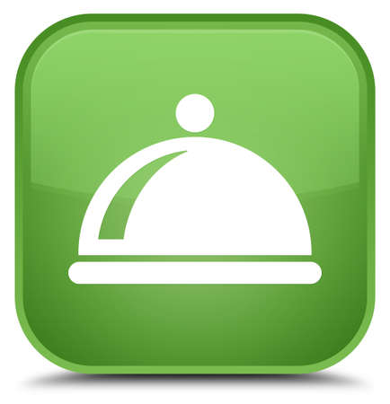 Food dish icon isolated on special soft green square button abstract illustration Stock Photo