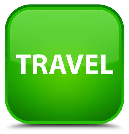 Travel isolated on special green square button abstract illustration Stock Photo