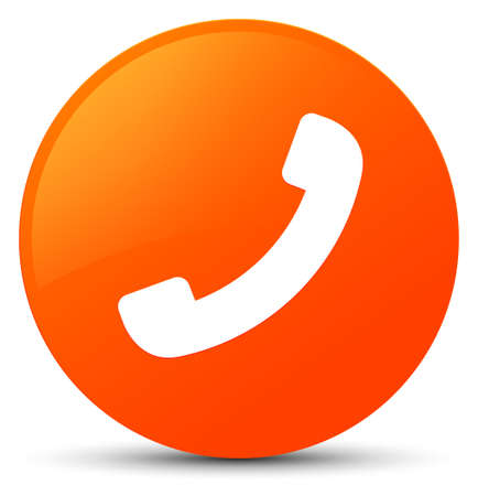 Phone icon isolated on orange round button abstract illustration