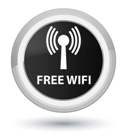Free wifi (wlan network) isolated on prime black round button abstract illustration Stock Photo