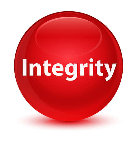 Integrity isolated on glassy red round button abstract illustration