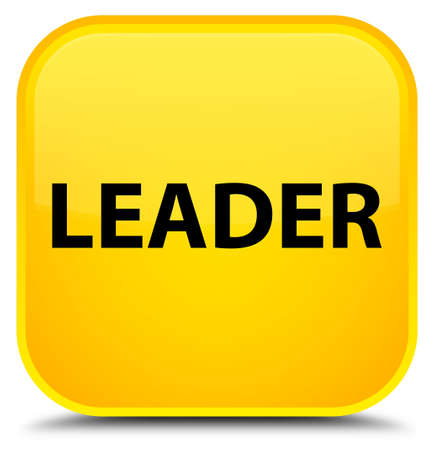 Leader isolated on special yellow square button abstract illustration Stock Photo