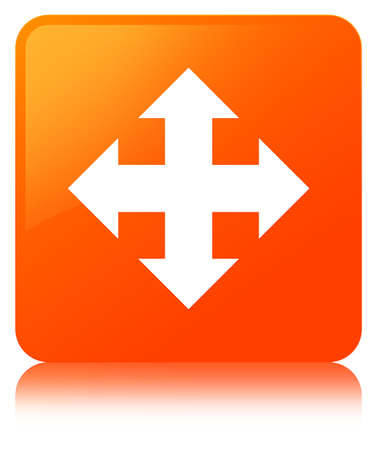 Move icon isolated on orange square button reflected abstract illustration