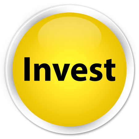 Invest isolated on premium yellow round button abstract illustration Stock Photo
