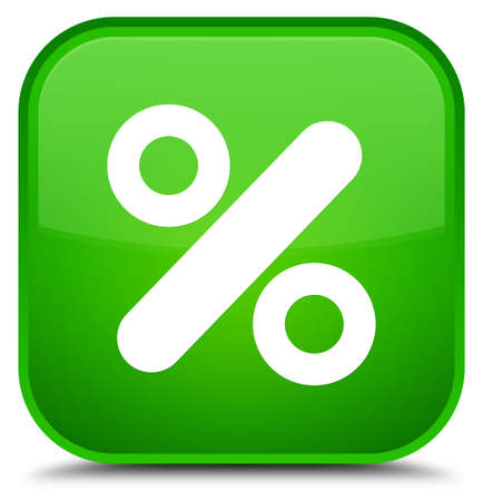 Discount icon isolated on special green square button abstract illustration Stock Photo