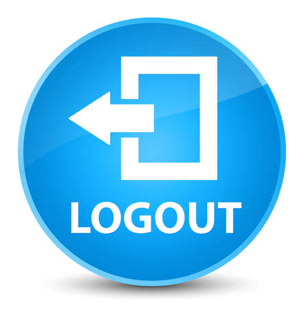 Logout isolated on elegant cyan blue round button abstract illustration Stock Photo