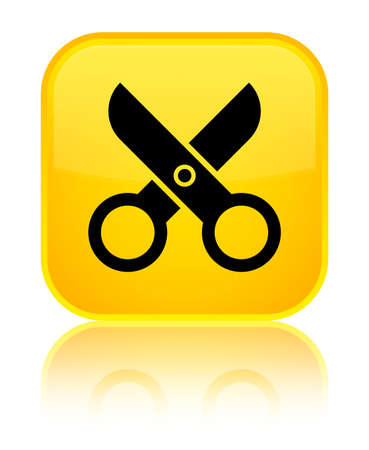 Scissors icon isolated on special yellow square button reflected abstract illustration Stock Photo
