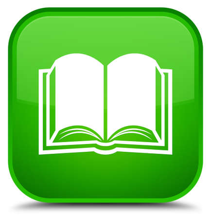 Book icon isolated on special green square button abstract illustration Stock Photo