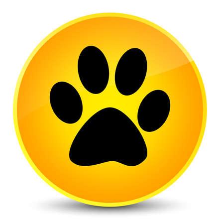 footmark: Animal footprint icon isolated on elegant yellow round button abstract illustration