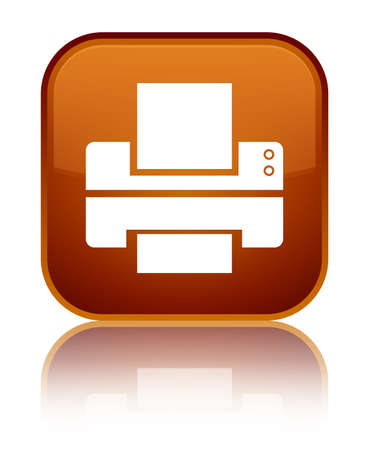 Printer icon isolated on special brown square button reflected abstract illustration