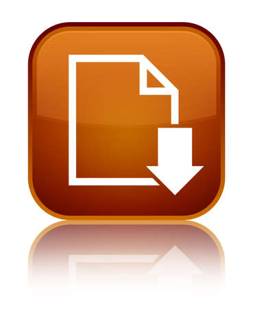 Download document icon isolated on special brown square button reflected abstract illustration
