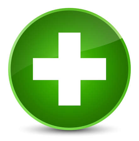 Plus icon isolated on elegant green round button abstract illustration