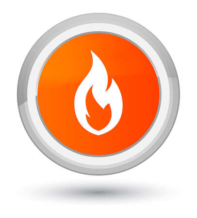 Fire flame icon isolated on prime orange round button abstract illustration