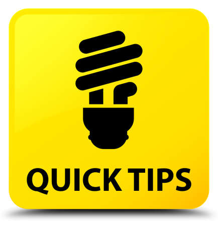 Quick tips (bulb icon) isolated on yellow square button abstract illustration