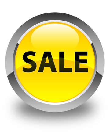 Sale isolated on glossy yellow round button abstract illustration Stock Photo