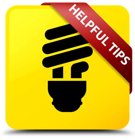 Helpful tips (bulb icon) isolated on yellow square button with red ribbon in corner abstract illustration