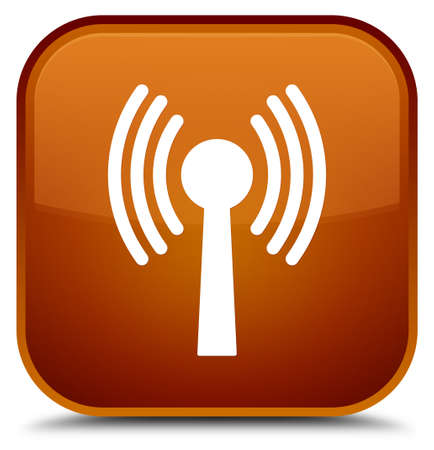 Icône de réseau Wlan isolé sur l'illustration abstraite de bouton carré spécial brun Banque d'images - 89328970
