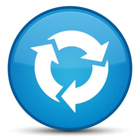 Erneuern Sie die Ikone, die auf spezieller cyan-blauer runder Knopfzusammenfassungsillustration lokalisiert wird Standard-Bild