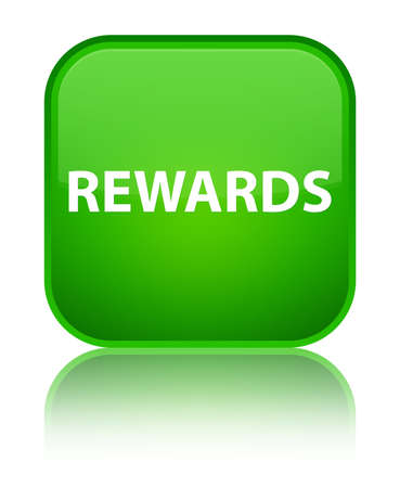 Rewards isolated on special green square button reflected abstract illustration Stock Photo