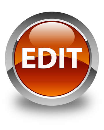 Edit isolated on glossy brown round button abstract illustration