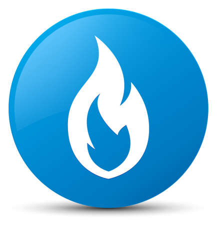 Fire flame icon isolated on cyan blue round button abstract illustration