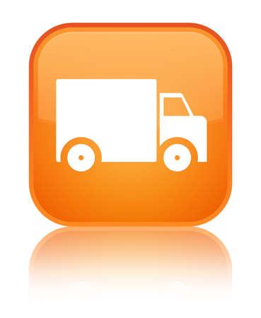 特別なオレンジ色の四角のボタンに分離配達トラックのアイコンは、抽象イラストを反射 写真素材