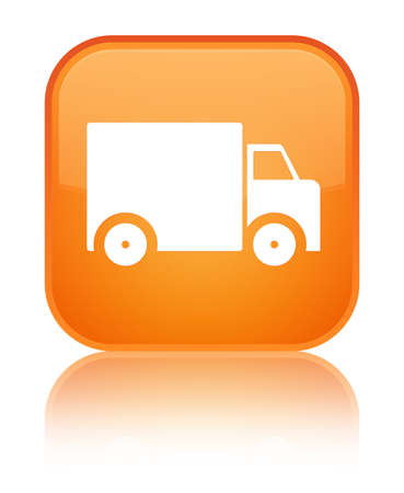 Delivery truck icon isolated on special orange square button reflected abstract illustration Фото со стока