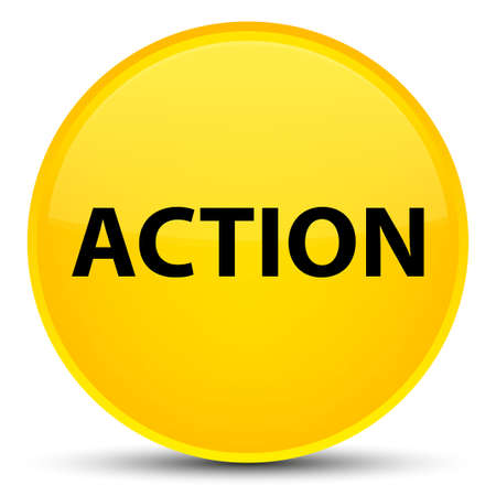 Action isolated on special yellow round button abstract illustration