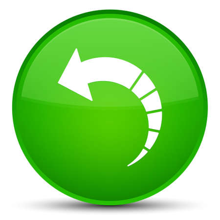 Back arrow icon isolated on special green round button abstract illustration