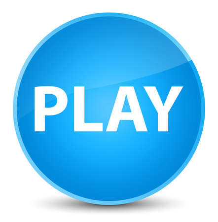 Play isolated on elegant cyan blue round button abstract illustration Stock Photo