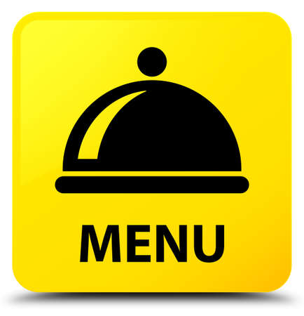 Menu (food dish icon) isolated on yellow square button abstract illustration