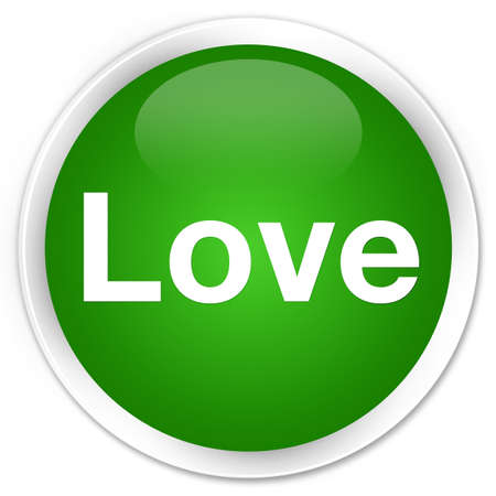 Love isolated on premium green round button abstract illustration Stock Photo