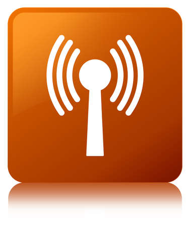 Wlan network icon isolated on brown square button reflected abstract illustration Stock Photo