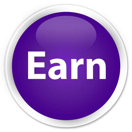 Earn isolated on premium purple round button abstract illustration 版權商用圖片